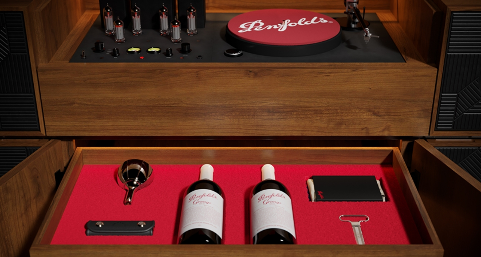 Penfolds Record Player Console with Amplifier and Wine