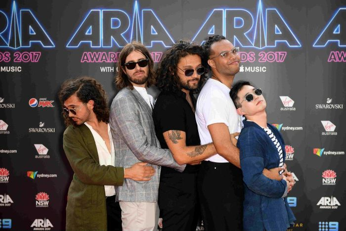 Gang of Youths arrive at the 31st ARIA Awards at The Star, in Sydney. AAP: Dan Himbrechts