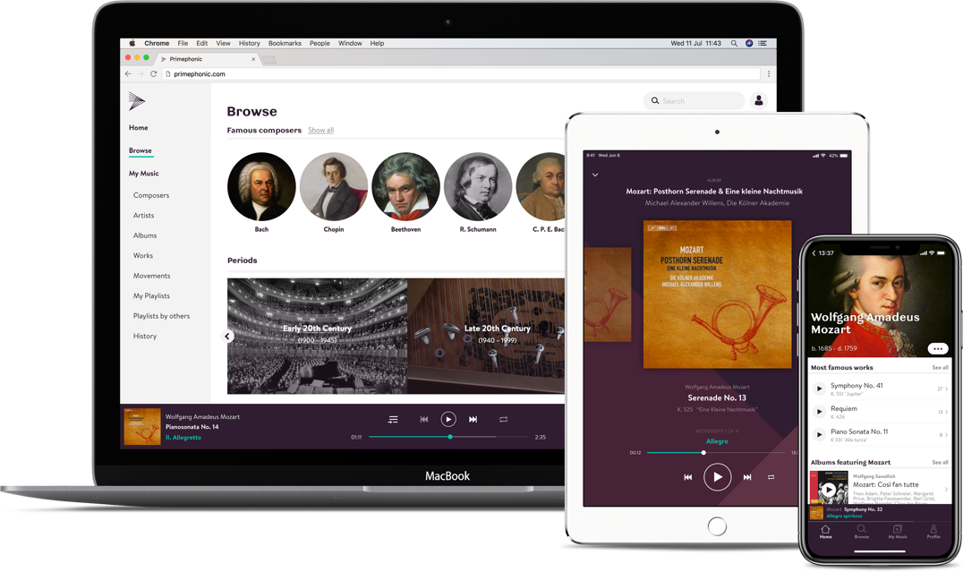 Primephonic classical music streaming app