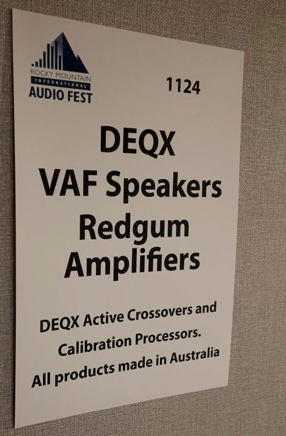 DEQX, Redgum Audio, VAF Research at Rocky Mountain Audio Fest