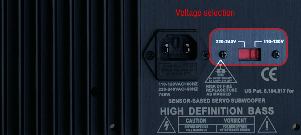 Figure 1 – Voltage selection: be careful to choose the right setting before connecting to the mains!