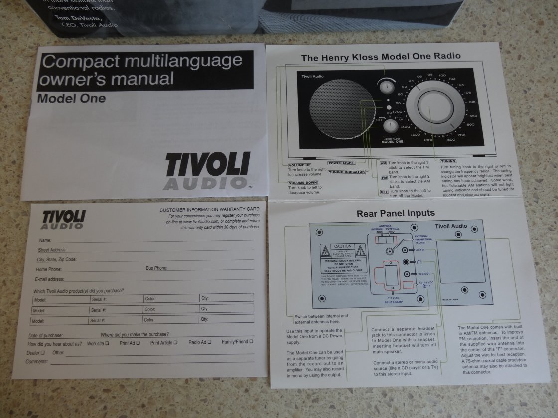 tivoli audio model one manual