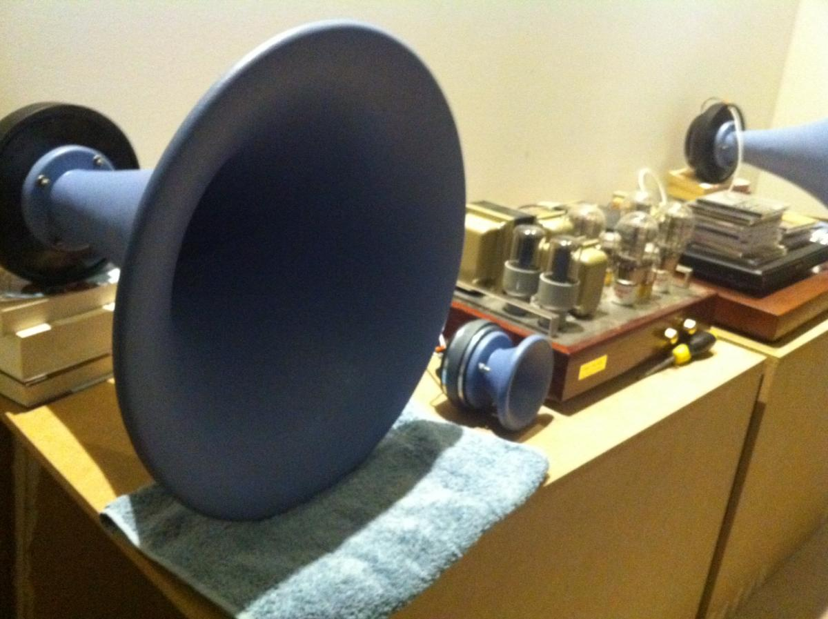 Pics Fostex FE83 baby 2-inch driver in large Azura Horn