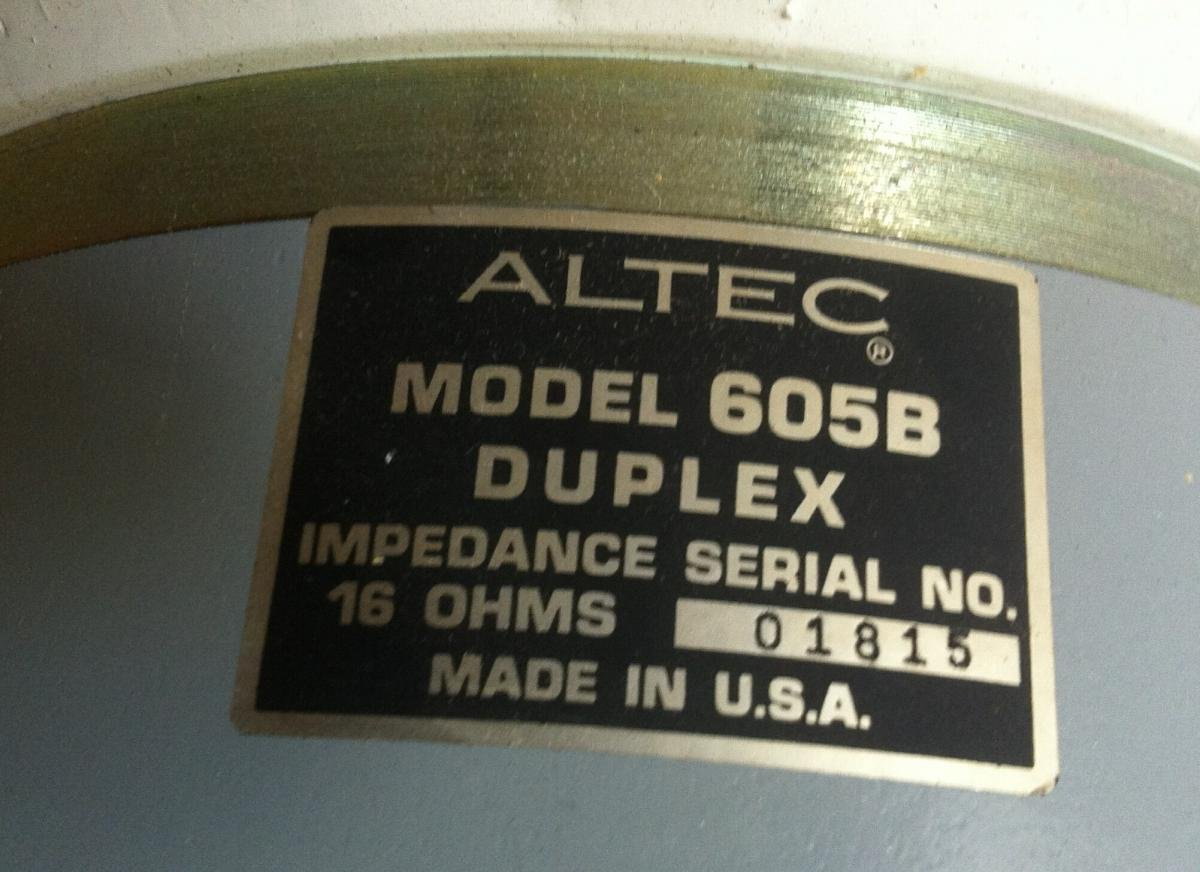 SOLD: F S  Altec 605B speakers (2) with Xover - Classifieds