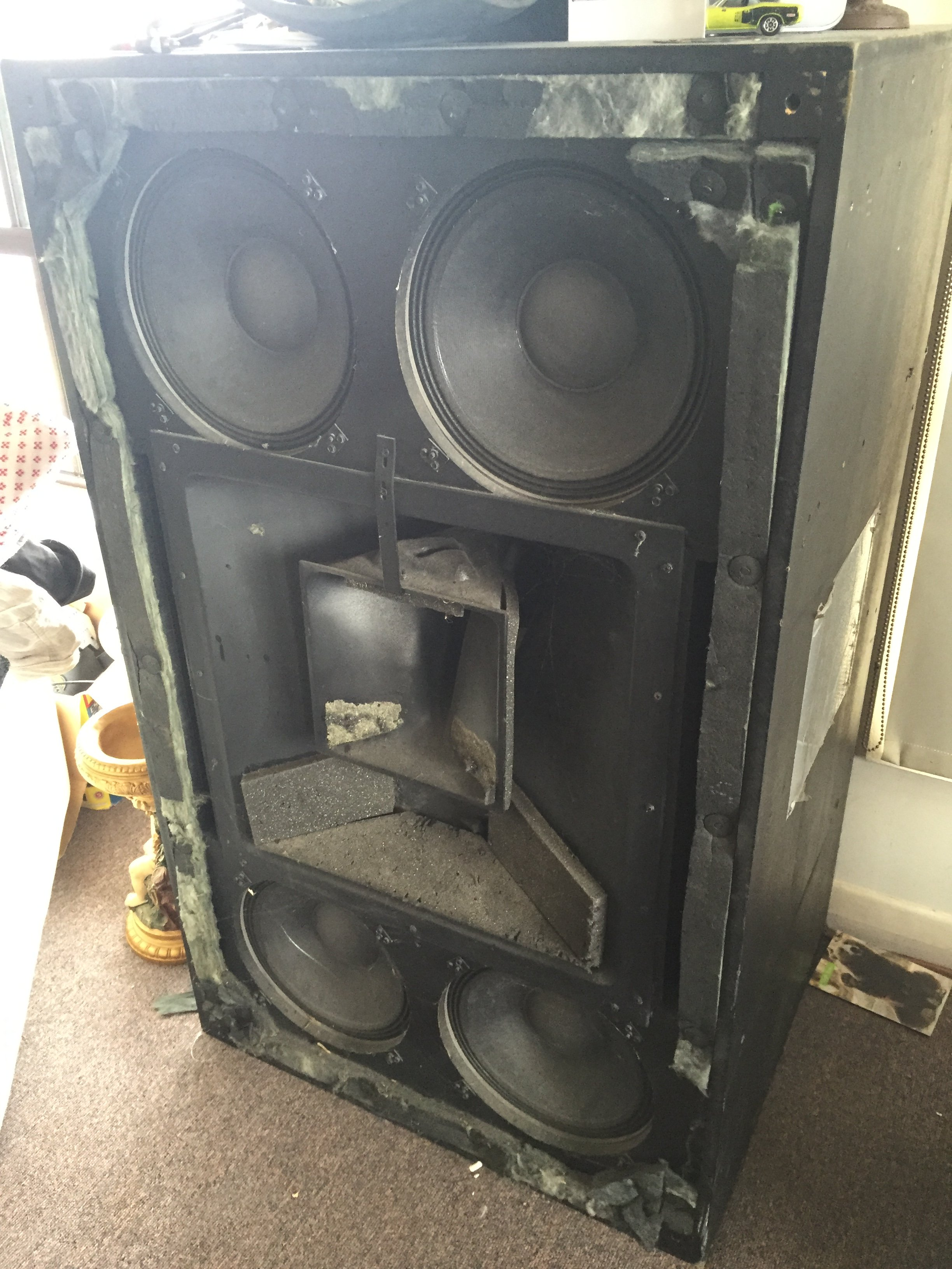 """2110787d2a The left/centre/right IMAX speakers can be seen with the upper centre  """"Voice of God""""—the left speaker has someone standing next to it wearing a  """"hi-vis"""" ..."""