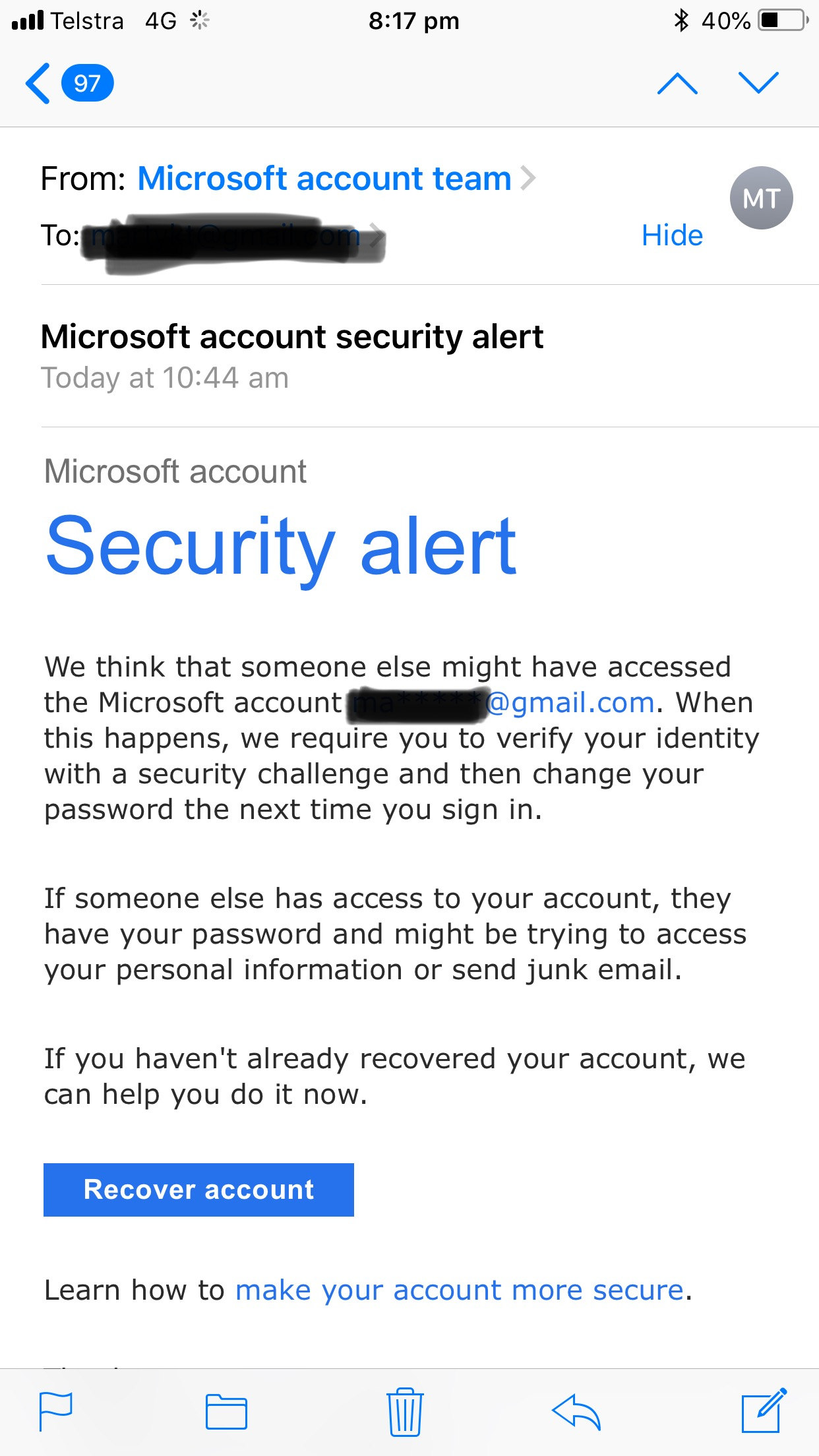microsoft account security alert email and text