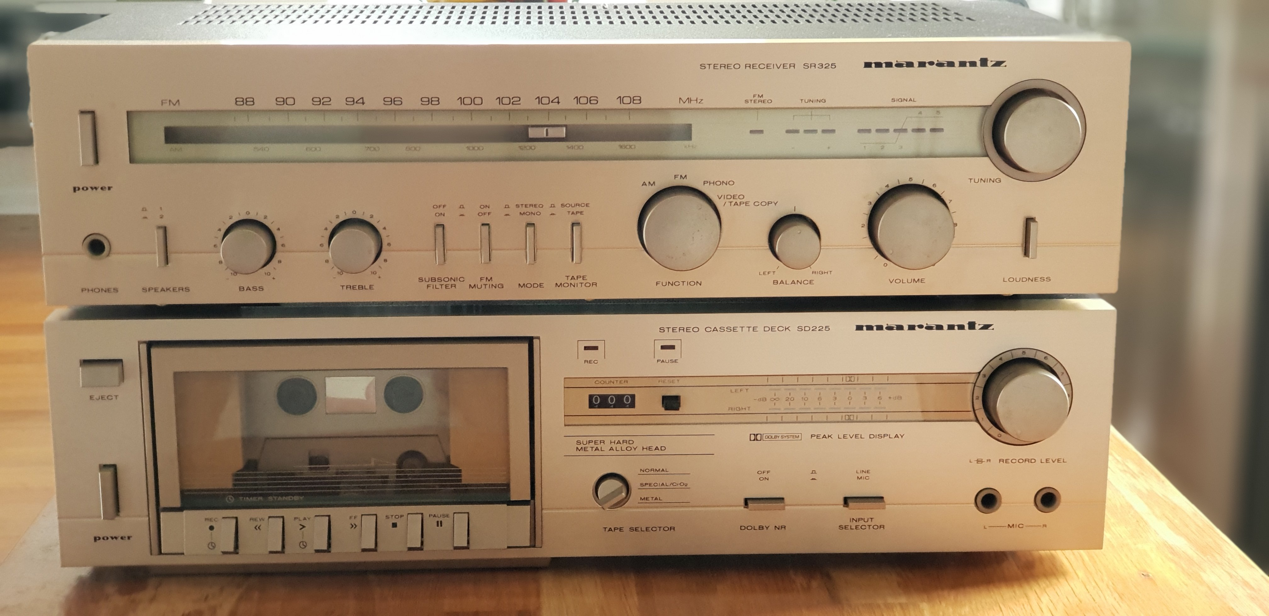 sold fs marantz sr325 amp receiver sd225 tape deck. Black Bedroom Furniture Sets. Home Design Ideas