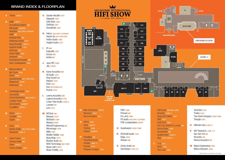 2017 Melbourne International HiFi Show Floorplan