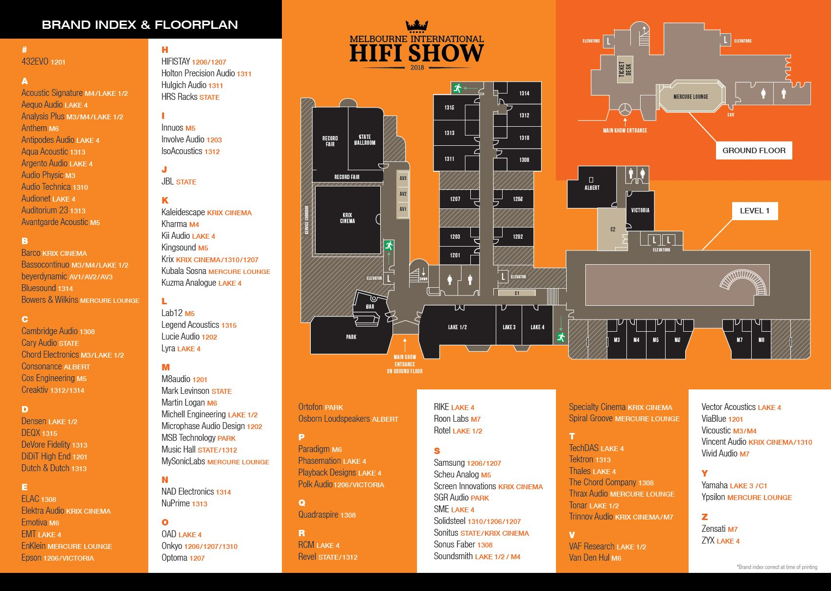 2018 Melbourne International Hi-Fi Show Floorplan