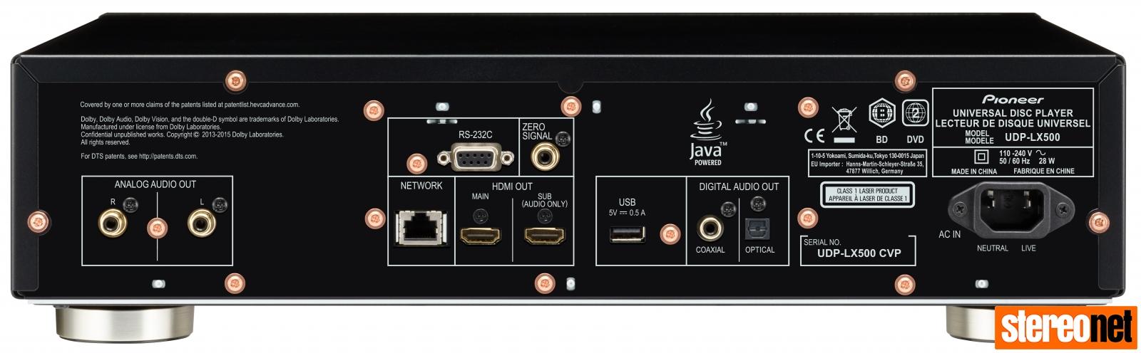 Pioneer UDP-LX500 rear panel