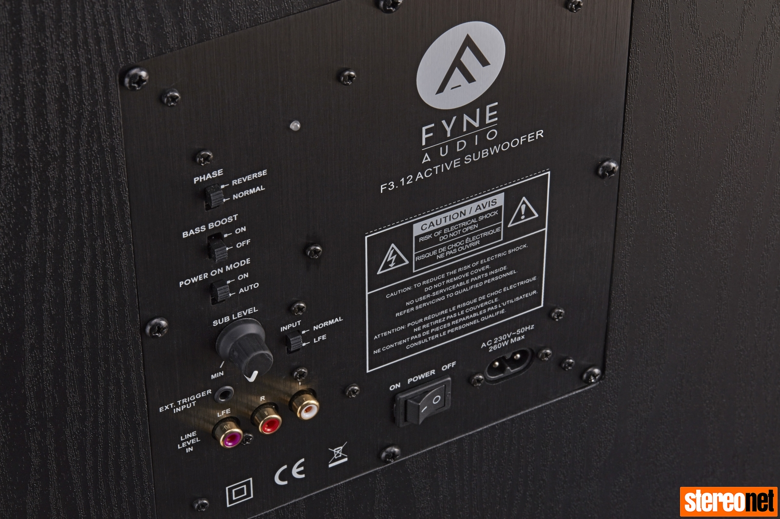 Fyne Audio F3 subwoofer rear panel
