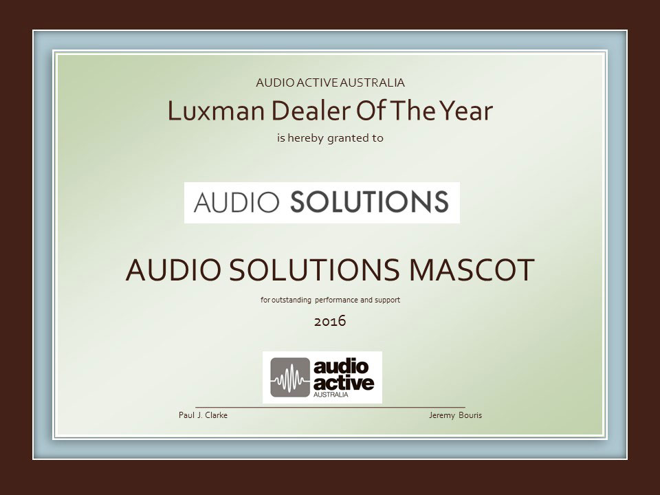 Luxman Australia - Dealer of the Year