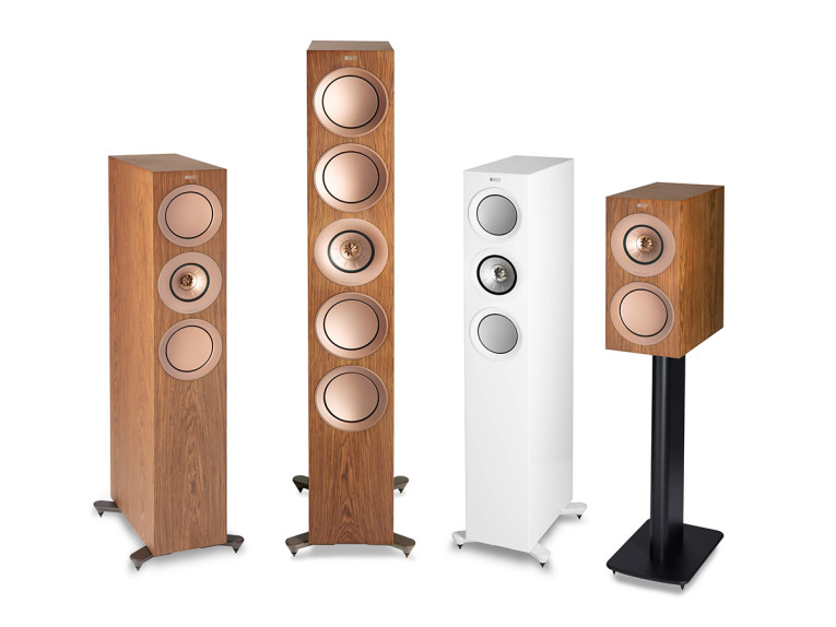 Kef R Series white and walnut