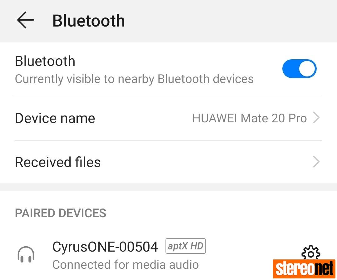 Cyrus ONE HD on Mate 20 Pro aptX HD