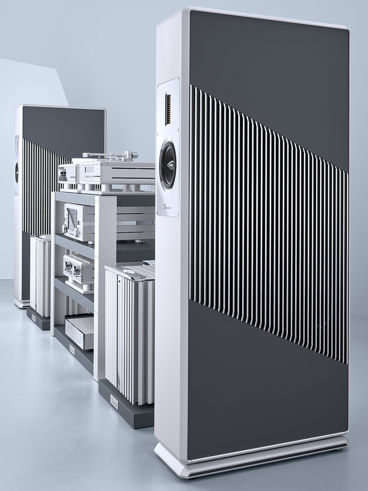 Burmester BC150 speakers and 217 turntable